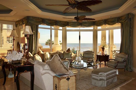 Formal living oceanfront silk fabrics ocean views drapery