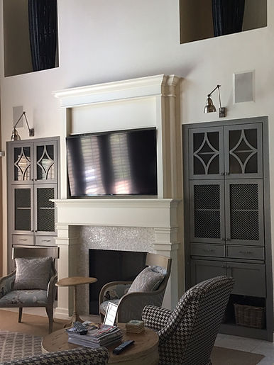 Transitional built in bookshelves and fireplace mosaic tile grey cabinets