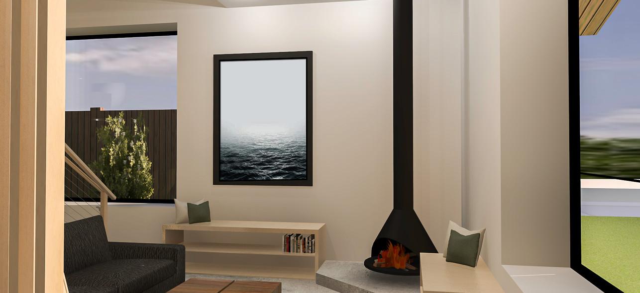 3D interior rendering of living area