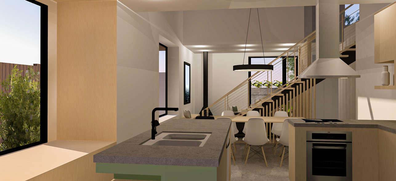 3D interior rendering of kitchen and dining room