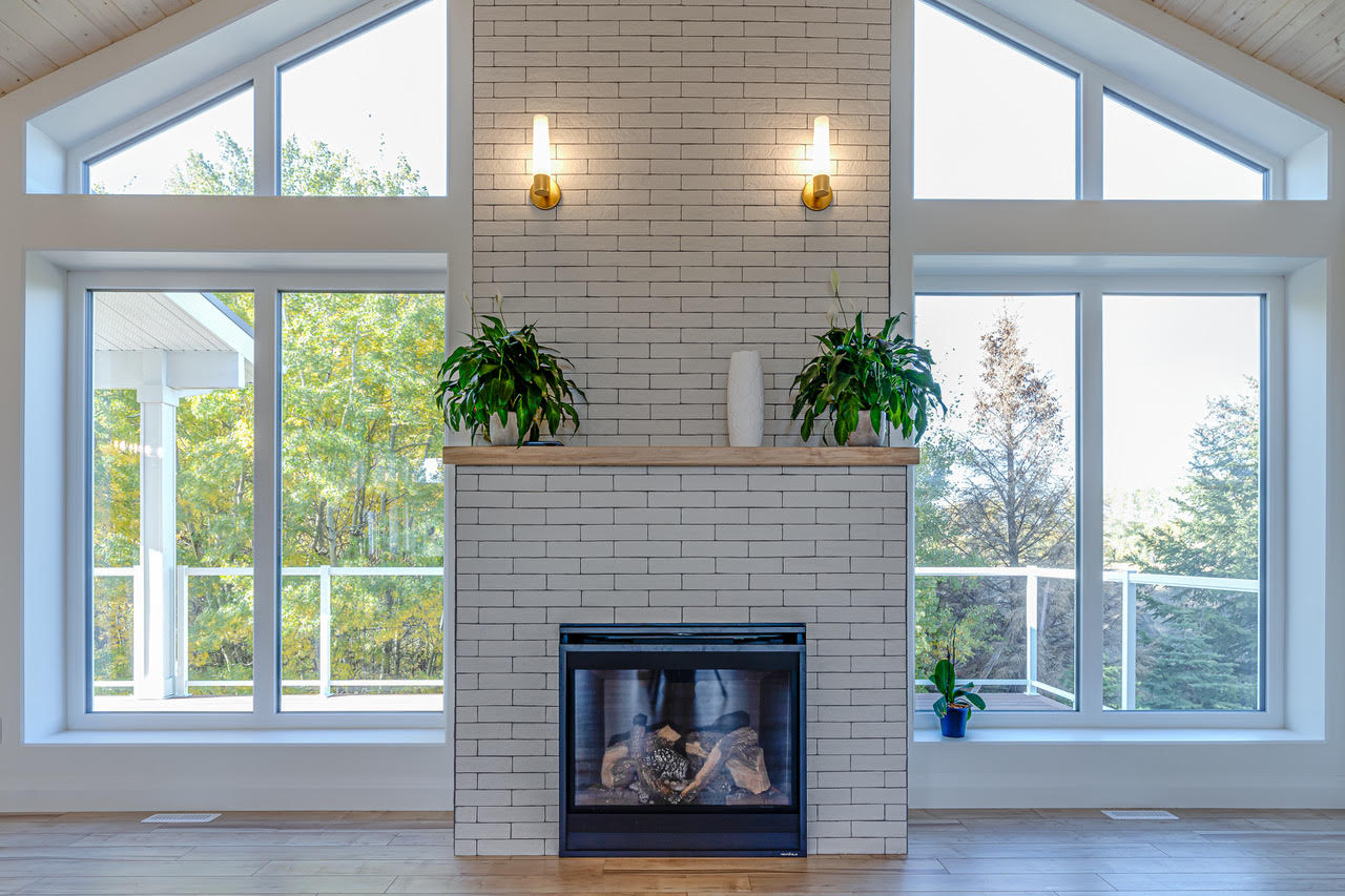 Modern Bright Fireplace Facade