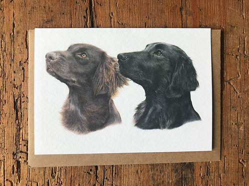 Flat-Coated Retrievers Greeting Card