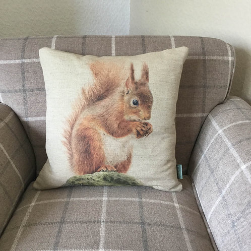 Red Squirrel Natural Linen Cushion