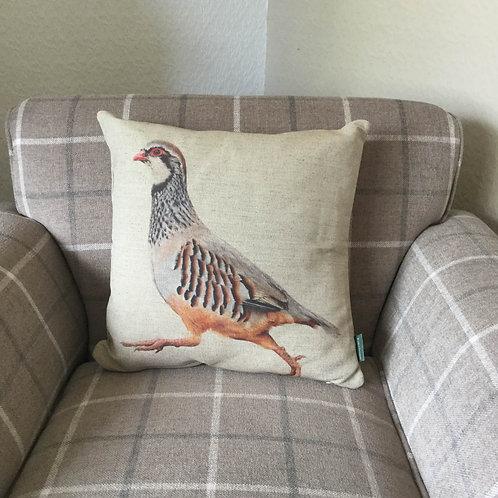 Partridge Natural Linen Cushion