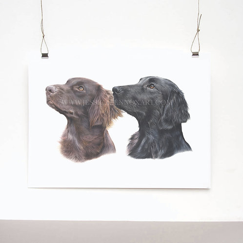 Flat-Coated Retrievers Limited Edition Print