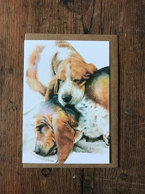 Sleeping Bassets Greeting Card
