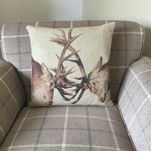 Stags Natural Linen Cushion