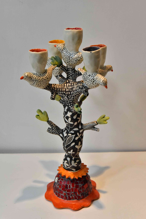 tree and five spotty brids candelabra, b&w design, white cups, acid colours inside