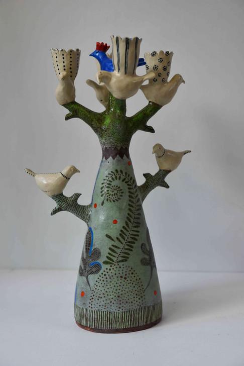 blue bird with red crown tree candelabra