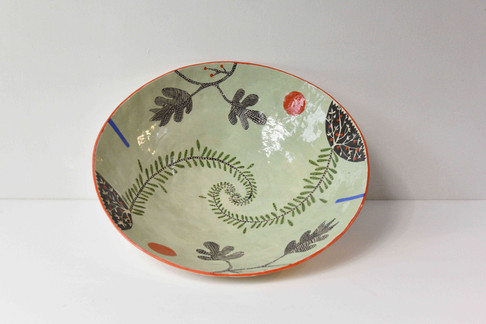 Large pale green fern bowl