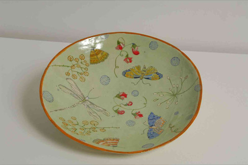 Green, Butterfly and Dragonfly Plate