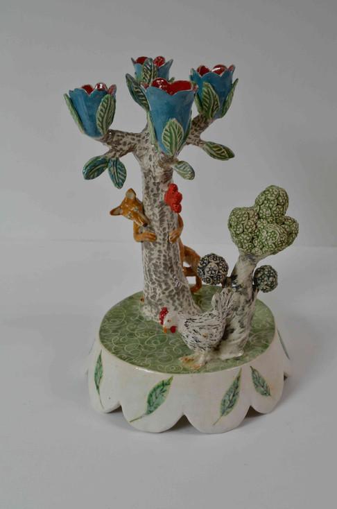 Fox and Hen candelabra