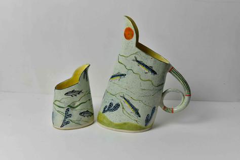 small anchovy jug, no handle and large mackerel jug