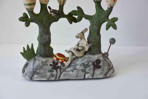 Hare and cherry tart candelabra - detail