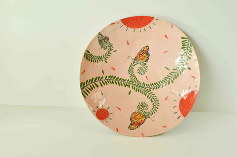 Pink Plate with Butterflies and Ferns (2