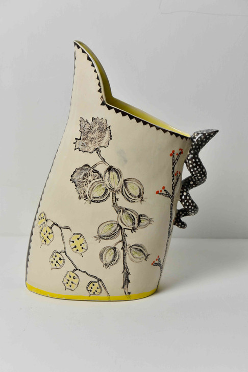 tall gooseberry jug with b&w spotty hand