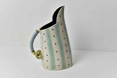 stripy textile medium jug, black inside