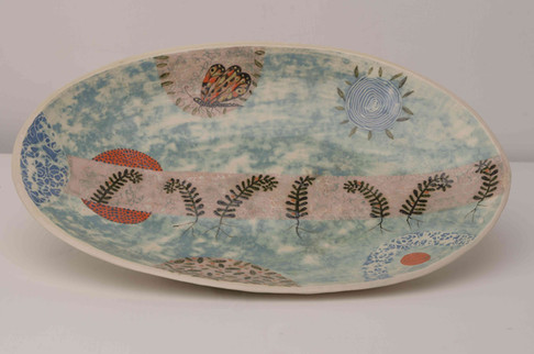 Turquoise Platter with Ferns and Butterf