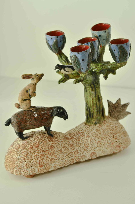 Sheep and Hare Candelabra
