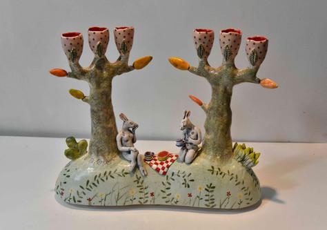 picnicking hares candelabra