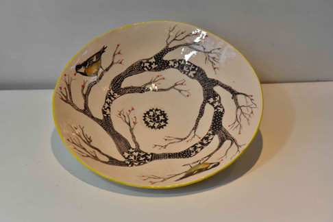 large plate, tree design, yellow tits an