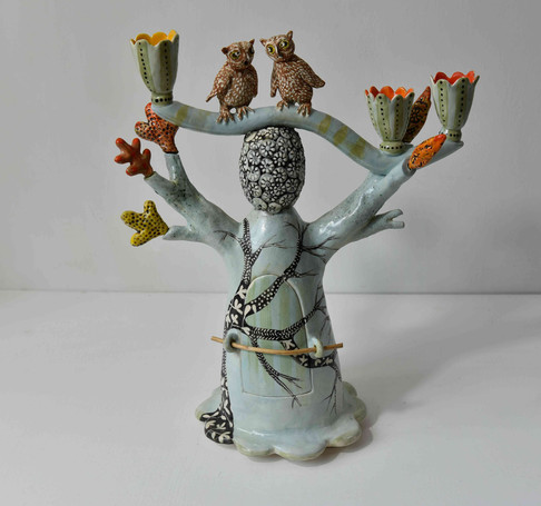 gossipping owls candelabra with acid col
