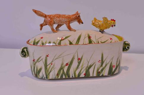Fox and Hen Grass Pattern Box