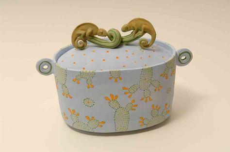Blue Chameleon Box with Cactus
