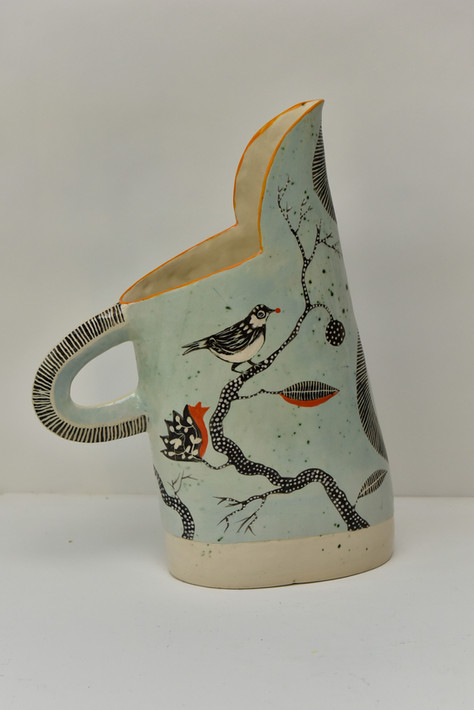 pale green large jug with robin and styl