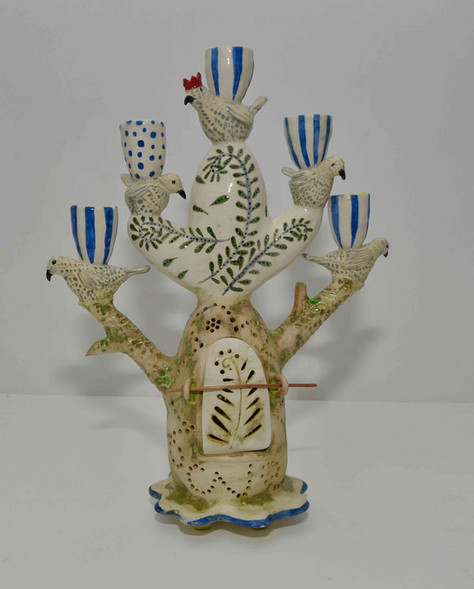 Five bird shrine, candelabra