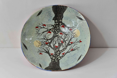 large blue plate - winter tree red birds