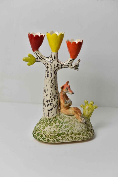dreaming fox, three cups candelabra