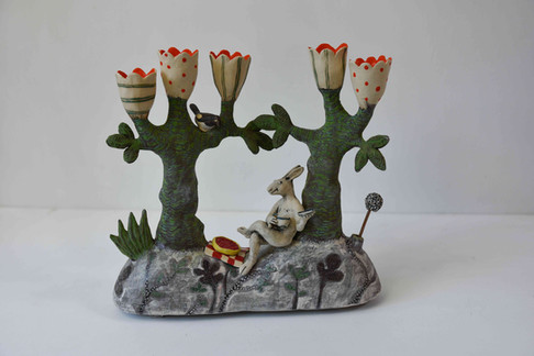 Hare and cherry tart candelabra