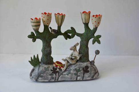 Hare and cherry tart candelabra