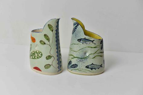 small green jug and leafy shape, small anchovy seaweed jug, no handles