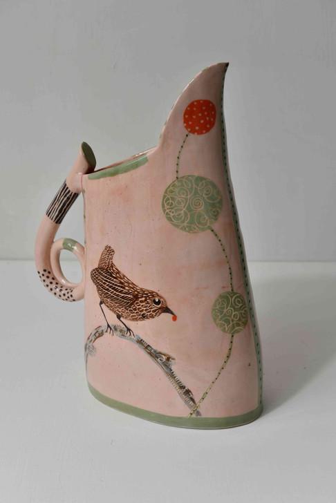 medium pink jug with bird and berry