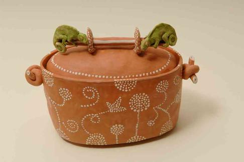 Terracotta Box with Chameleons