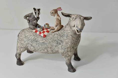sheep, hare and badger picnic - 'it was this big'