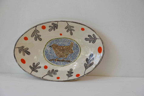 White oval platter, bird and dots - Copy