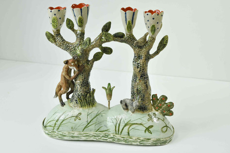 Hare and fox candelabra