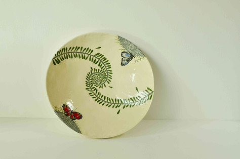 Cream Plate with Butterflies and Ferns