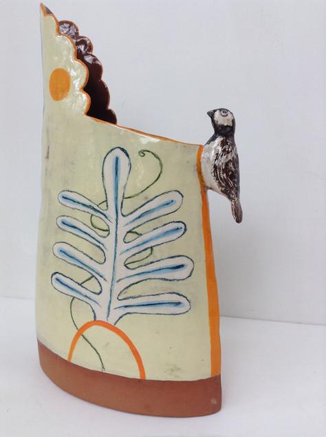 terracotta and yellow jug, orange stripe