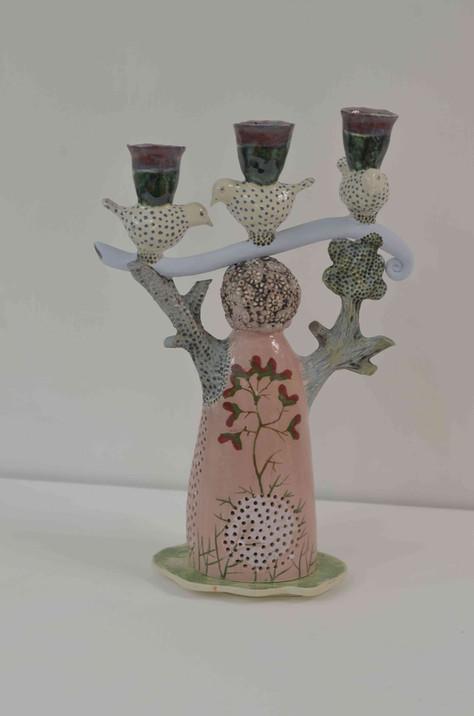 Three Bird Pink Candelabra