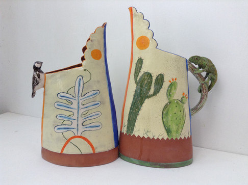 chameleon and cactus terracotta yellow j