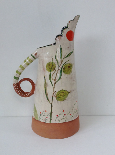 datura white and terracotta tall jug wit