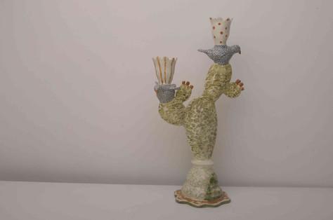Cactus and Spotty Bird Candelabra