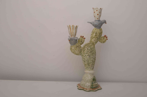 Cactus and Spotty Bird Candelabra