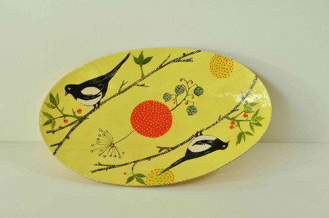 Yellow Oval Plate with Magpies (1).jpg