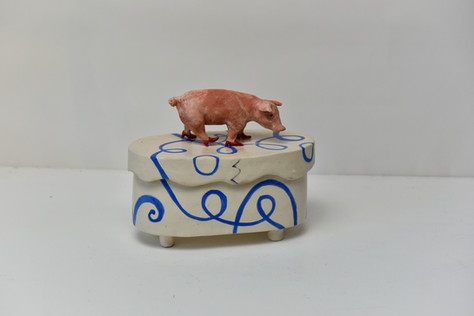 small pig red heels box
