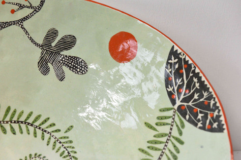 Large pale green fern bowl (detail)